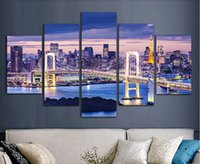 abstract digital wallpaper - Tokyo Bay Wallpaper Painted Painting Oil Painting On Canvas Painting Canvas Wall Art Picture F