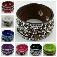 Wholesale Crystal Leather Bracelet in jewelry Fashion Wrapped Layer Leather Bracelet Crystal Charm Bracelets Color