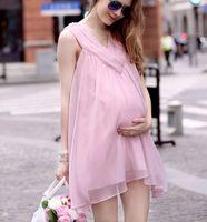 Wholesale Comfortable Summer Maternity Dresses Plus Size Dresses For Pregnant Women with Fashion Elegant Loose Chiffon Sleeveless Clothing Ladies