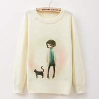 animal print sweaters for women - Women Sweaters For Women Autumn Winter Cartoon Printing Romantic Pure White Sweater Long Sleeve knitted Lady clothes