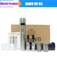 Wholesale Ce4 Lcd Box - LCD Display Vamo V6 Kit Starter Mod CE4 Atomizer Charger 18350 Battery with Gift Box Black Chrome White Chrome Stainless Steel 002558B