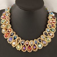 Wholesale Fashion Necklaces for Women choker collar gold chain big chunky double crystal bead necklaces pendants statement necklace