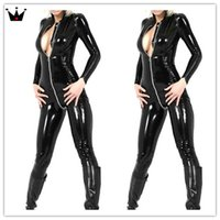 latex catsuit - 2015 hot selling men and women same style latex catsuit long sleeve front zipper bodysuit Halloween black costume free delivery
