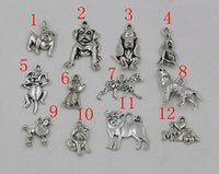 dog charms - Hot sell Antiqued Silver Mixed Dog Charm Pendant Jewelry DIY style