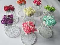 bells candy - 2015 White Bell Birdcage Styles Wedding Favours Boxes With Artificial Roses Flowers Party Gift Candy Favor Holders Boxes Supplies