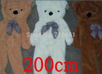 achat en gros de grandeur nature anniversaire ours-200cm grand Teddy manteau de coquille d'ours en peluche énorme sans taille de coton de vie géant 68 '' cadeau d'anniversaire 3 couleurs 2.0m