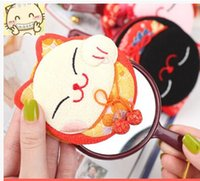 Wholesale DHL Cute Portable Cosmetic Mirror Japanese Style Lucky Cat Makeup Mirrors Mixed design