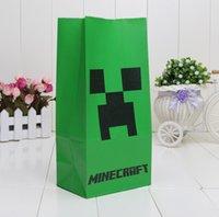 shopping bags paper - 100pcs cm minecraft bag minecraft shopping bag Popcorn paper bag minecraft paper bag