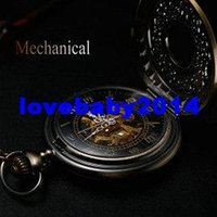 mens pocket watches - Antique bronze automatic pendant watch necklace mens retro pocket watch keychain gold vine mechanical military pocket watch