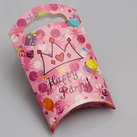 Cheap 60pcs lot Baby Kids Candy Handbag Birthday Party Cartoon Pack Paper Gift Bag Festvial Thanks Giving Accessories wd951