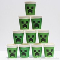 Wholesale 100pcs Minecraft Paper Cups Toys Cartoon Figures Creeper Face Drinking Cup Tableware Disposable Mug for Party