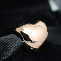 925 plata esterlina y oro de Rose plateado del encanto del grano europeo apto Estilo Pandora grande del corazón de la joyería pulseras collares
