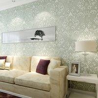 Wholesale Luxury Velvet Victorian Embossed Flocking Non Woven Wallpaper Background Livingroom TV Sofa Damask Leaves Wallpaper Home Decor