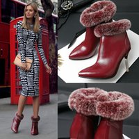 Wholesale 2015 New Cheap Fashion Boots in Rabbit Hair Short Boots High Heeled Shoes Black Red Bonded Leather Zipper Short Boots