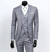 Wholesale Custom Made One Button Light Grey Groom Tuxedos Notch Lapel Best Man Groomsmen Mens Wedding Suits Jacket Pants Vest Tie G3669