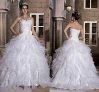 Wholesale Real Picture Ball Gown Princess Wedding Dresses Bridal Gowns Sweetheart Ruffles Organza Pleats Flowers Designer Wedding Gowns wd6269