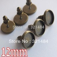 bezels - antique bronze mm earring bezels blank jewelry findings earring post with bullet backings