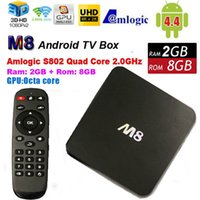 Cheap M8 Amlogic S802 Quad Core Android 4.4 Smart TV Box XBMC installed Media Player 4K HDMI 2G 8G smart android tv box