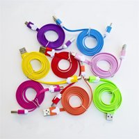 Wholesale 1M Micro V8 Noodle Flat Data USB Charging Cords Charger Cable Line for Samsung Android Phone