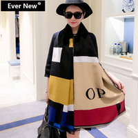 Wholesale Patchwork Pashmina Letters poncho Women Warmful Cashmere cape OP shawls and scarves Winter Scarf Fall fashion