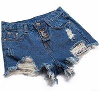 Cheap Jeans Women 2015 High Waist Denim Shorts Ripped Jeans Fashion Holes 4 Buttons Denim Short Pants 4 Colors DK6008