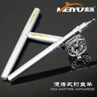 Wholesale Fly Reels Portable ice fishing rod mini pen fishing rod fishing rod fishing gear flywheel Set C