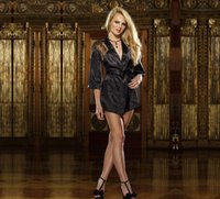 Wholesale Sexy Underwear Black Lace Sleep Dress Transparent Women s Silk Sexy lingeries Include Condole Belt Skirt G string Belt