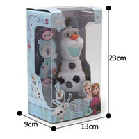 Wholesale Hot Frozen dolls olaf inch musical Piggy bank Saving Coin music box Unique toy kids Decorative gift Novelty Children s toys Xmas Gifts