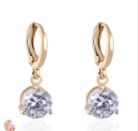 Wholesale 2015 New K gold plated made With Big Round CZ Diamond Crystal long Drop Earring For Weddings Jewelry