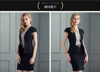 Cheap European and American high-end temperament lady dress suit dress summer short-sleeved clothing women's black dress