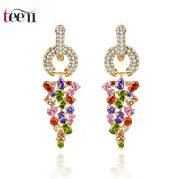 big jewelry stores - Teemi Jewelry Stores Big Drop Earrings European Luxury Leage Multi Clear Cubic Zircon White Champagne Gold Plated Wedding Brincos for Women