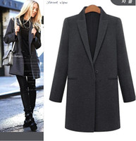 Black Trench Coat 2015 New Fashion Women's Slim Long Sections Wool Blended Coat Winter Womens Trench Coat Plus Size OXL082206