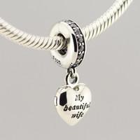 beautiful metal bracelet - New Sterling Silver Jewelry My Beautiful Wife Dangle Charm Beads with CZ Fits European DIY Jewelry Bracelets Necklaces