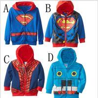 autumn thomas - 2015 color kids superman spiderman hoodies boys superhero thomas coat superhero hooded jacket outwear jumpsuits Sweatshirts TOPB3851