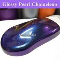 air bubble foil - Blue to Purple Pearl Gloss Chameleon Vinyl Wrap Film With Air Bubble Free Shiny Flip Flop Car Wrap Sticker foil Size M Roll