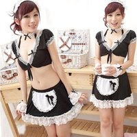 best plus size halloween costumes - Best seller Women sexy lingerie Party Cosplay Halloween Costume Maid Apron Outfit Nightwear with Underwear Erotic lingerie