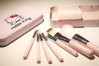 Acheter Brosses 7pcs-Bonjour Kitty Make Up pinceau cosmétique Kit Pinceaux Case Fer Rose / Toiletry Beauté Appliances 7pcs / 30sets set