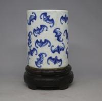 bat ornament - Xianfeng bat blue cloud pattern pen to do the old antique antiques antique porcelain ornaments receipt Room Collection
