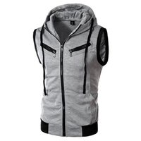 Wholesale Fall Men New Arrival Hooded Pockets Vest Sleeveless Good Selling Waistcoats Burgundy Light Gray Dark Gray