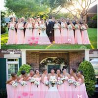 Girl aline bridesmaid dresses - Cheap Custom Made NewPink Bridesmaid Long Chiffon Dresses Sweetheart Aline Backless Empire Waist Long Formal Prom Evening Party Dresses