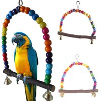 Wholesale New Colorful Wooden Bird Parrot Swing Toys Parakeet Cockatiel Budgie Cage Hanging