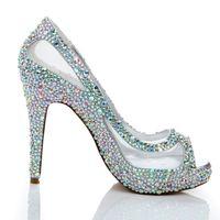 ab mesh - Spring Summer New Arrival Women High Heels Rhinestone Glitter AB Color Crystal Bridal Shoes Peep Toe Mesh Lace Wedding Shoes