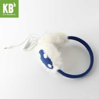 Cheap Wholesale-#**[Heartful Twist] KBB Unisex Blue Dotted Warm Fall Autumn Winter Fluffy Hands Free Music MP3 Speaker Earmuffs For Smartphones