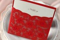 Invitations & Invitation Buckles Folded Red NEW Product 50pcs Azalea Wedding Invitation Printable & Customizable Colorful Photo Wholesale Free Shipping