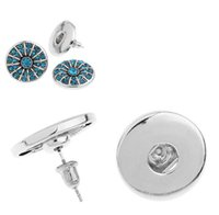 Wholesale NOOSA chunks snap button silver stud earrings Fashion hot Interchangeable Jewerly for women