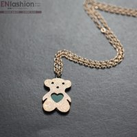 animal necklaces - Fashion animal stardust bear necklace women chain collar necklace pendant rose gold necklace stainless steel jewelry