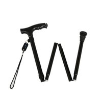 aluminum folding cane - latest black brown gold folding cane with LED light aluminum alloy section hiking canes security foot cover
