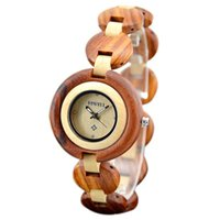 bangle bracelets for small wrists - vine elegant female Sandalwood wrist watch mother gift fully wooden bracelet bangle watches for women simple wood clock small round dial
