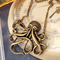 beaded octopus - 2015 New arrival Hot sale best quality Fashion Ladies Octopus Pendant Long Chain Bronze Necklace Vintage Retro EC039