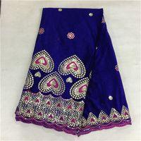 gorgeous fabrics - Gorgeous pure colour with rhinestones design hot sale purple Korea velvet lace and good quality African lace fabric P